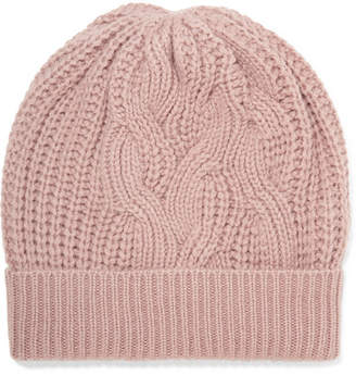 Johnstons of Elgin Cable-knit Cashmere Beanie - Blush