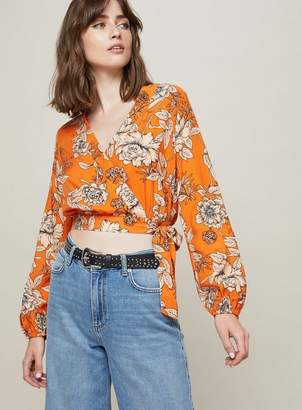 Miss Selfridge Orange floral wrap blouse