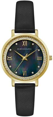 BCBGMAXAZRIA Classic Stainless Steel, Crystal & Leather-Strap Watch