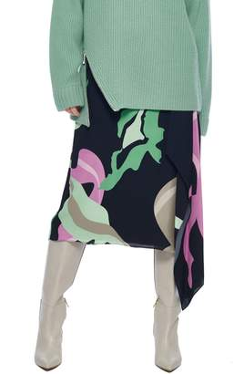 Tibi Ant Farm Print Asymmetrical Skirt