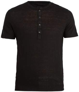 120% Lino Henley Linen T Shirt - Mens - Black