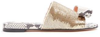 Rochas Sequin-embellished snake-effect bow front slides