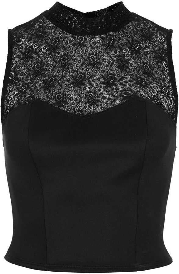 Topshop Fine Lace High Neck Top