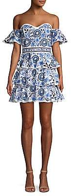 Caroline Constas Women's Irene Printed Ruffle Mini Dress