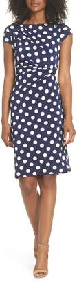 Eliza J Polka Dot Side Twist Sheath Dress