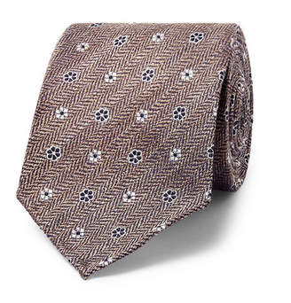 Drakes Drake's - 8cm Floral Silk And Linen-blend Jacquard Tie - Gray