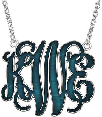 FINE JEWELRY Personalized 32mm Sterling Silver Enamel Monogram Necklace
