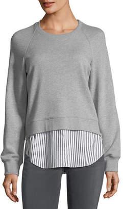 Derek Lam 10 Crosby Crewneck Raglan Sweatshirt with Striped Shirt Hem