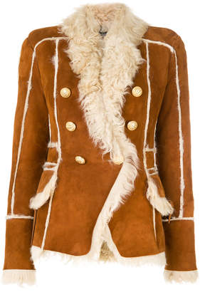 Balmain button-embellished shearling jacket