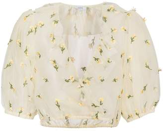 Ganni Bliss floral embroidered cropped top