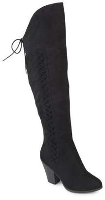 Brinley Co. Womens Wide Calf Faux Suede Faux Lace-up Over-the-knee Boots