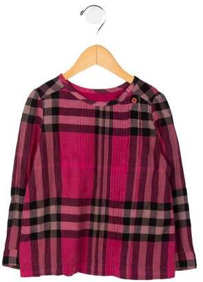 Burberry Girls' Plaid Print Top