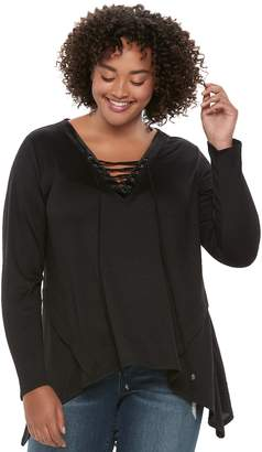 Heartsoul Juniors' Plus Size HeartSoul Lace-Up Shark-Bite Hem Top