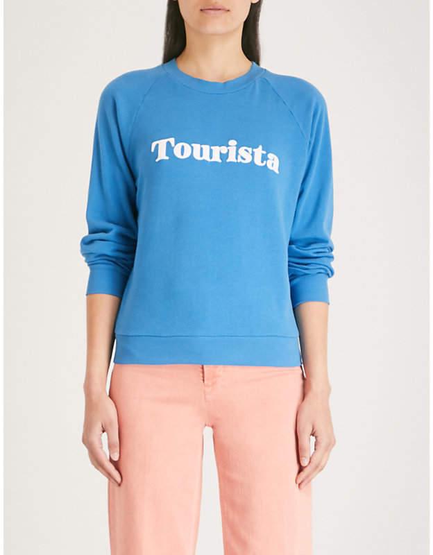 Tourista cotton flocked slogan sweatshirt