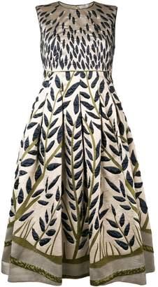 Fendi leaf embroidered midi dress