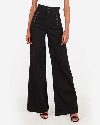 Express Super High Waisted Black Button Front Wide Leg Jeans
