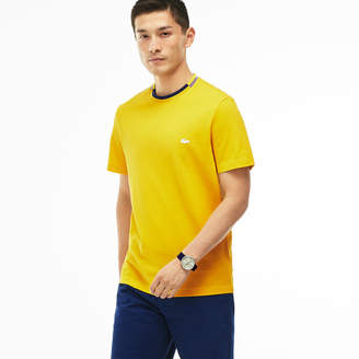 Lacoste Men's Striped Contrasted Crew Neck Petit Piqué T-shirt