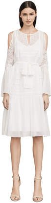 BCBGMAXAZRIA Evee Cold-Shoulder Silk Chiffon Dress