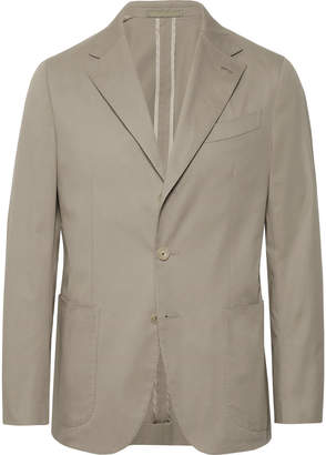 Caruso Stone Butterfly Slim-Fit Unstructured Cotton-Blend Suit Jacket