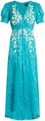 Saloni Lea embroidered floral-jacquard silk dress