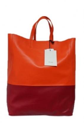 Celine pristine (PR Two Tone Orange Magenta Cabas Vertical Leather Tote Bag