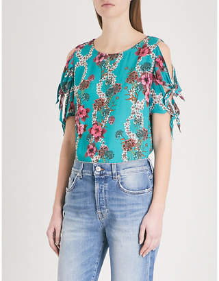 Sandro Bow detail floral print top