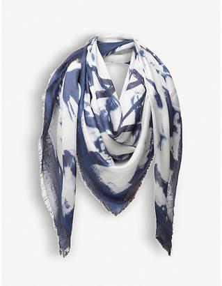 Loewe Bleached-print cashmere-blend scarf