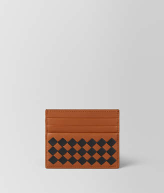Bottega Veneta DARK LEATHER INTRECCIATO CHECKER CARD CASE