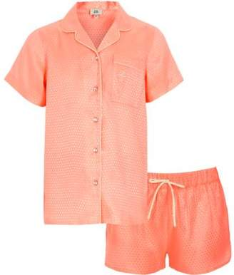 River Island Girls coral jacquard shirt pajama set