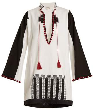 Talitha - Moroccan Embroidery Cotton Canvas Tunic - Womens - White Multi