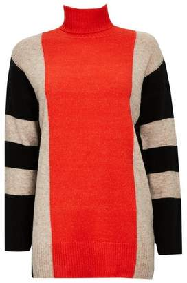 Wallis Orange Colour Block Textured Jumper