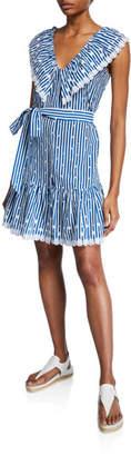 Miguelina Rosalie Striped Cotton Lace Short Dress