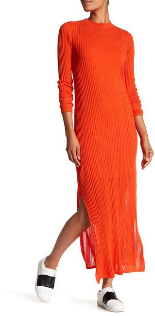 DKNY Long Sleeve Crew Neck Knit Maxi Dress