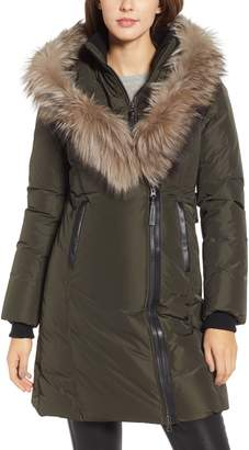 Mackage 800 Fill Power Down Coat with Genuine Fox Fur Trim