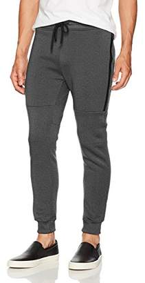 Southpole Men's Fleece Jogger Pants with Water Proof Long Zipper