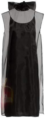 Prada Neon Rabbit Print Silk Organza Dress - Womens - Black Multi