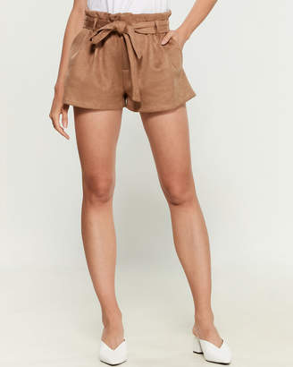 Necessary Objects Mocha Faux Suede Paperbag Shorts