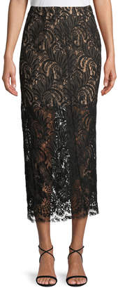 Stella McCartney High-Waist Lace Pencil Midi Skirt
