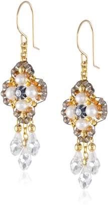 Miguel Ases Fresh Water Pearl 14k Gold Filled 3-Drop Dangle Earrings