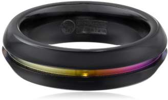 Women's Black Titanium Grooved Rainbow Dome Ring