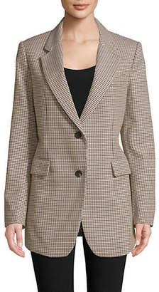 Theory Houndstooth Wool Cotton Blazer