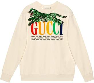 Gucci Cities sweatshirt with sequin panther