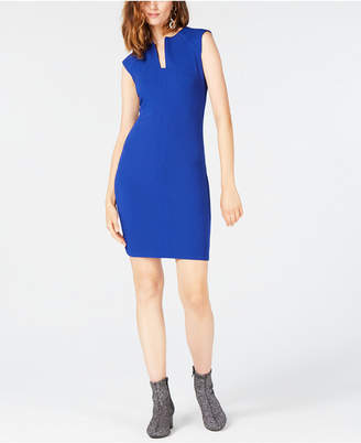 Bar III Split-Neck Bodycon Dress, Created for Macy's