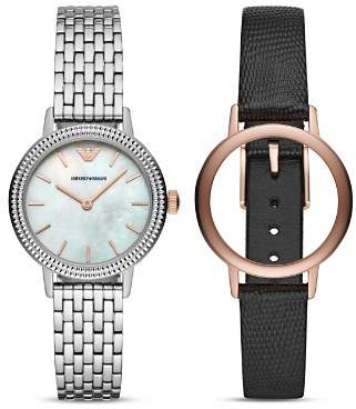 Emporio Armani Mother-of-Pearl Watch, 32mm with Leather Strap Gift Set