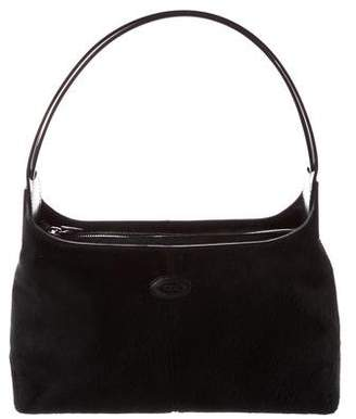 Tod's Leather-Trimmed Ponyhair Bag