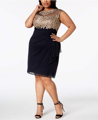 Xscape Evenings Plus Size Ruched Embellished Dress