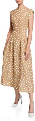 Escada Cap-Sleeve Polka-Dot Linen Dress