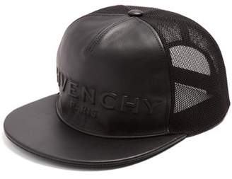 Givenchy Logo Embossed Leather And Mesh Cap - Mens - Black