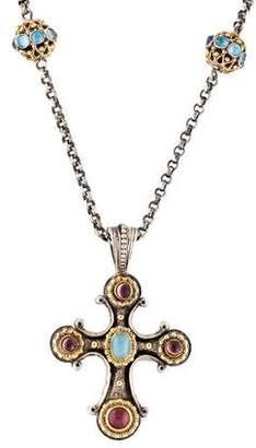 Konstantino Aquamarine & Tourmaline Cross Pendant Necklace