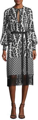 Andrew Gn Long-Sleeve Patchwork-Print Midi Dress